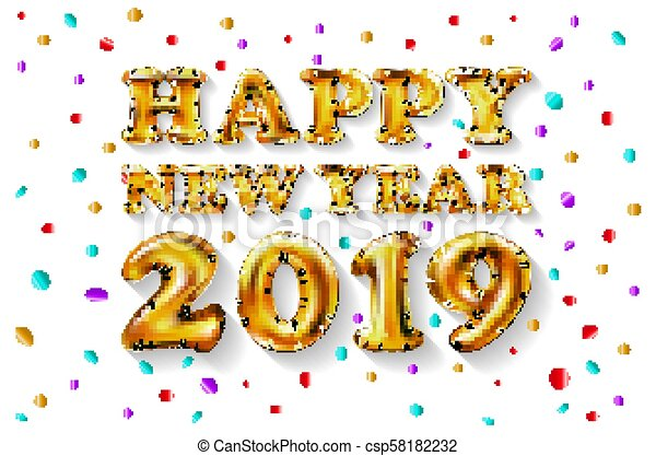 Metallic Gold Letter Balloons 2019 Happy New Year Golden Number Ball