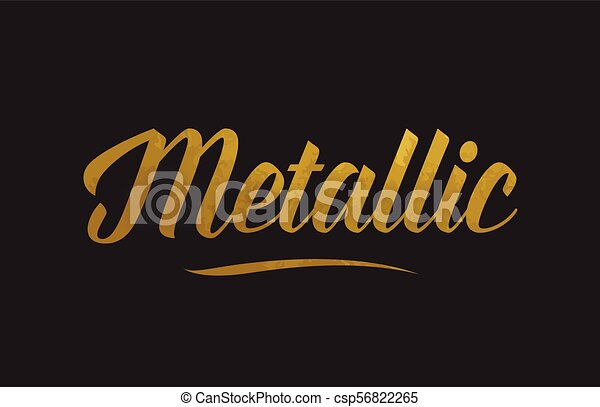 Metallic gold word text illustration typography - csp56822265