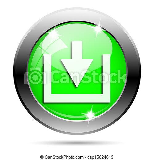Metallic green glossy icon - csp15624613