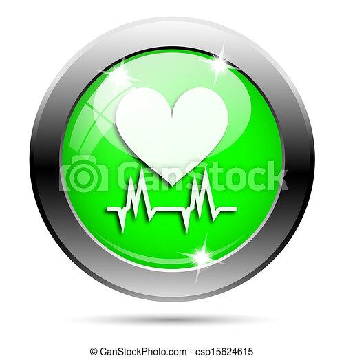 Metallic green glossy icon - csp15624615