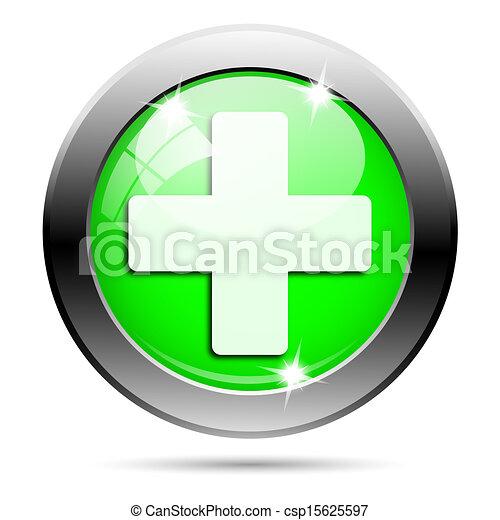 Metallic green glossy icon - csp15625597