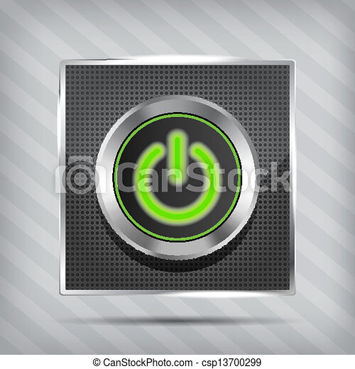 metallic green power button icon - csp13700299