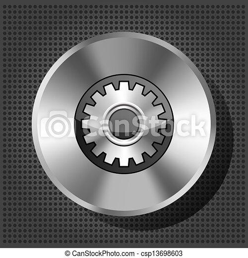 metallic icon with gear on knob on striped background - csp13698603