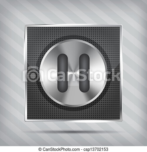 metallic knob with pause icon on the striped background  - csp13702153