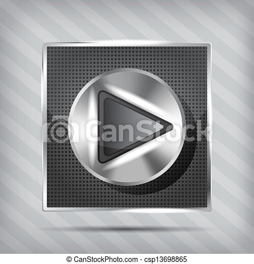metallic knob with play icon on the striped background - csp13698865
