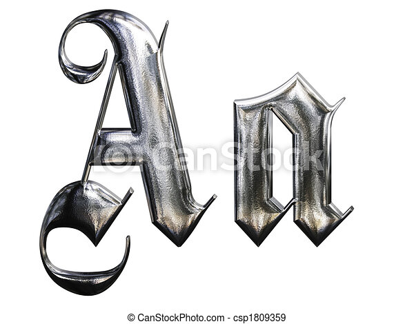 Metallic Patterned Letter Of German Gothic Alphabet Font A