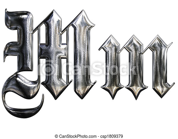 Metallic Patterned Letter Of German Gothic Alphabet Font Letter M