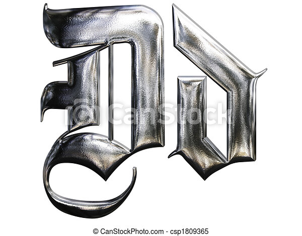 Metallic Patterned Letter Of German Gothic Alphabet Font D