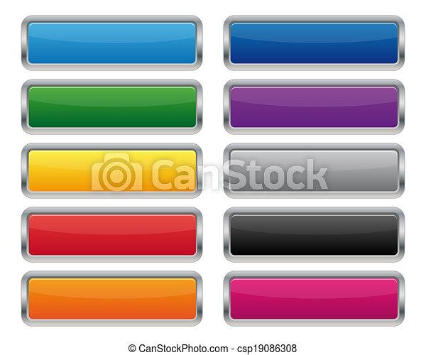Metallic rectangular buttons - csp19086308