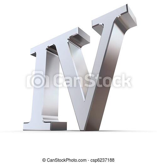 Metallic Roman Numeral 4 - csp6237188