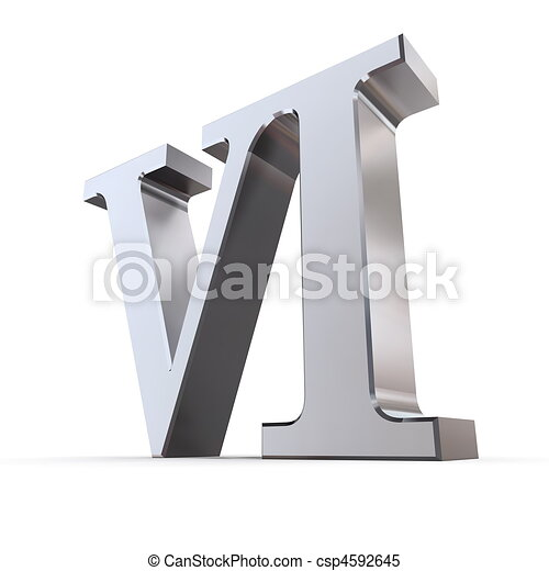 Metallic Roman Numeral 6 - csp4592645