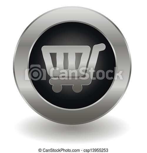 Metallic shopping cart button - csp13955253
