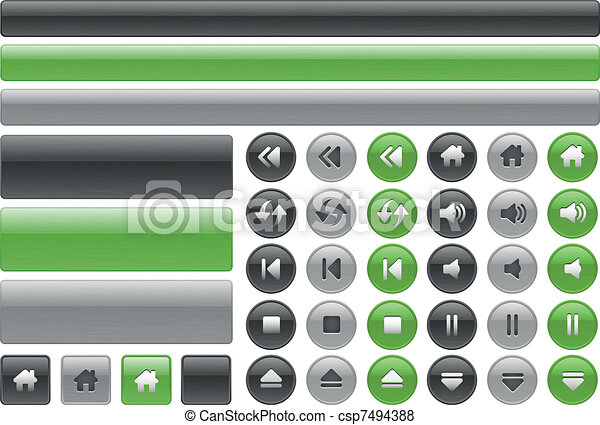 Metallic web buttons & music contro - csp7494388