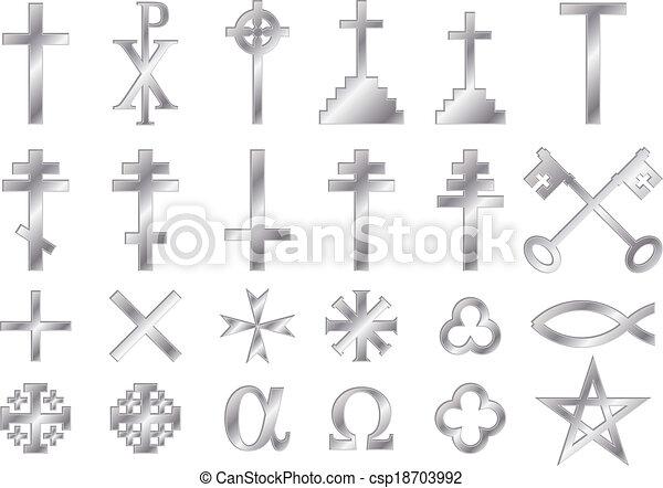 Metallicchristian Religious Symbols A Set Of Christian Religious