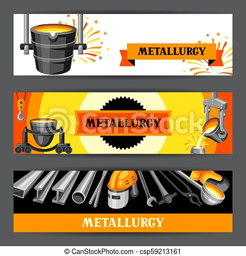 Metallurgical banners design. - csp59213161