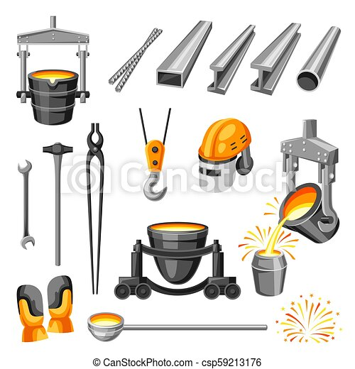 Metallurgical symbols set. - csp59213176