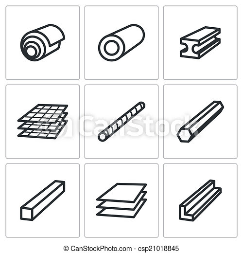 metallurgy products icons set metal industry icon collection on a