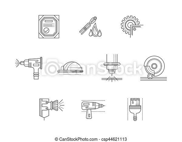 Metalworking Flat Line Vector Icons Set Symbols Of Metal Processing
