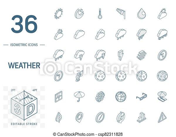meteo, 天候, 線, 3d, 等大, icons., ベクトル - csp82311828