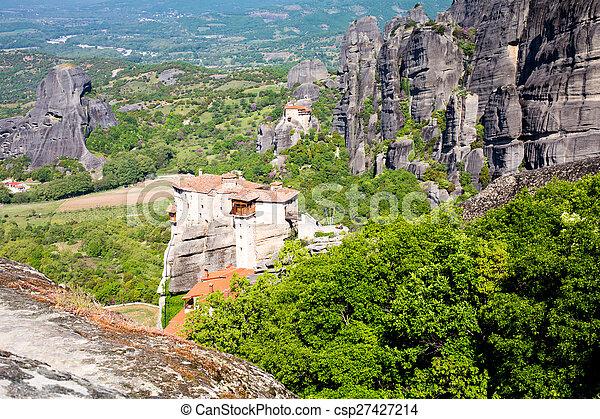 Meteora monasteries on the high cliffs, Greece - csp27427214
