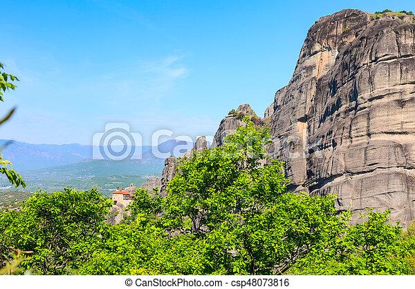 Meteora monastery on the high cliff, Greece - csp48073816