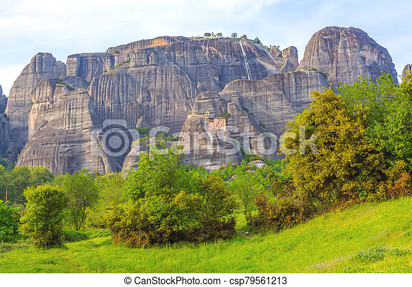 Meteora monastery on the high cliff, Greece - csp79561213