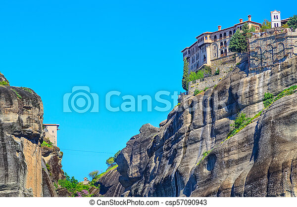 Meteora monastery on the high cliff, Greece - csp57090943
