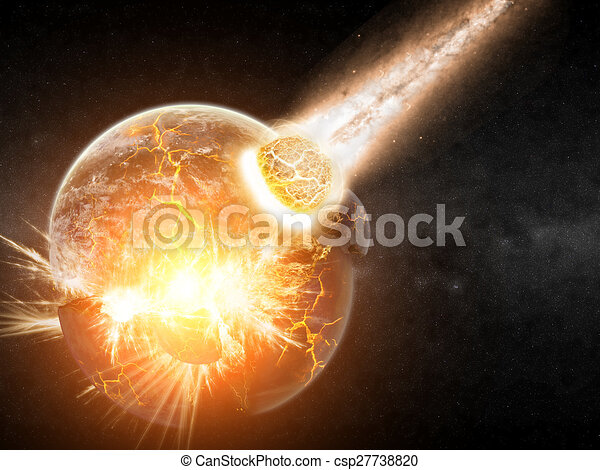 Meteorite impact on a planet in space - csp27738820