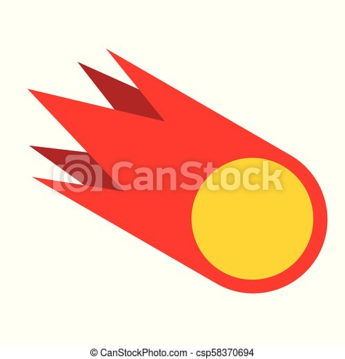 Meteorite isolated. Fire ball geometry. Vector illustration. - csp58370694