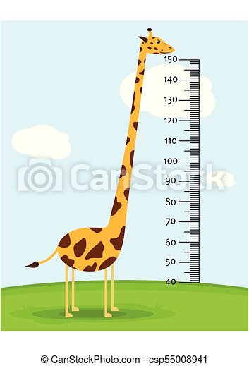 Meter wall or baby scale of growth with Giraffe on the grass. Kids height chart. scale from 40 to 150 centimeter. Vector illustration - csp55008941
