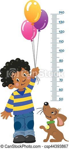 Meter wall or height chart with boy and puppy - csp44393867