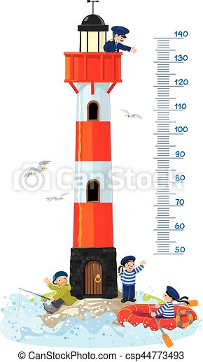 Meter wall or height chart with lighthouse - csp44773493
