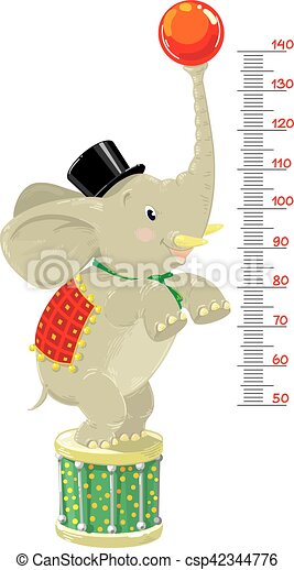 Meter wall or height chart with Funny elephant - csp42344776