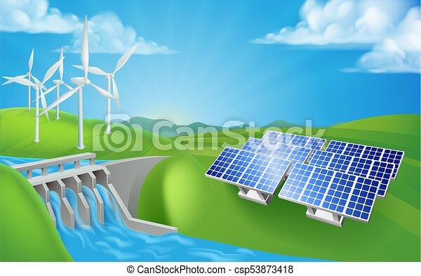 metoder, generation magt, energi, eller, udskiftelig - csp53873418