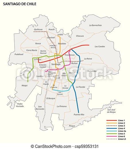 Santiago Subway Map.Metro De Santiago Vector Map