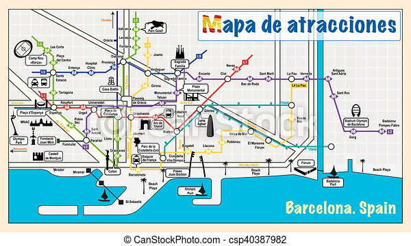 Cartina Metro Barcellona.Metro Map Of Barcelona Welcome To Barcelona Attractions On Map Jpg Good Resolution Canstock