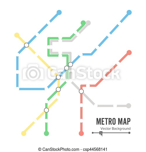 Metro Map Vector. Subway Map Design Template. Colorful Background With Stations - csp44568141