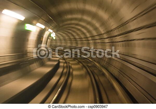 Metro tunnel, blurred motion - csp0903947