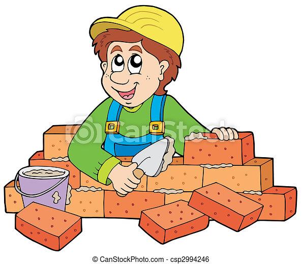 Metselaar vrolijke metselaar illustration vector - Happy casa mestre ...