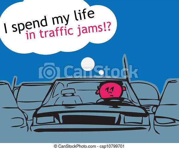 meu, vida, tráfego, jam!, gastar - csp10799701