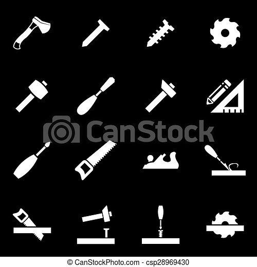 meubelmakerij, witte , vector, set, pictogram - csp28969430