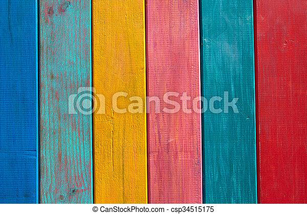 Mexicain Coloré Peint Raies Texture Bois