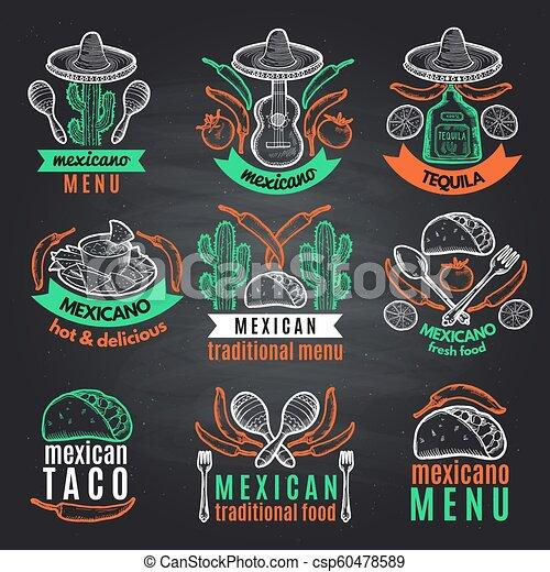 mexicain, coloré, texte, étiquettes, symboles, emblèmes, vecteur, noir, chalkboard., endroit, ton - csp60478589