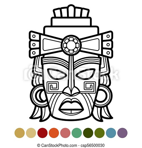 mexican african aztec mask coloring page culture ethnic rh canstockphoto com aztec clipart black and white aztec clipart borders