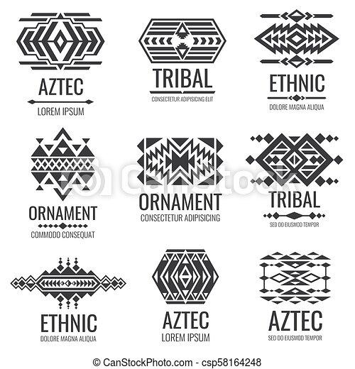 Mexican Aztec Symbols Vintage Tribal Vector Ornaments Illustration Of Traditional Native Navajo Decoration Ethnic Element