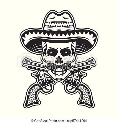 Mexican bandit skull in sombrero hat illustration - csp57411294