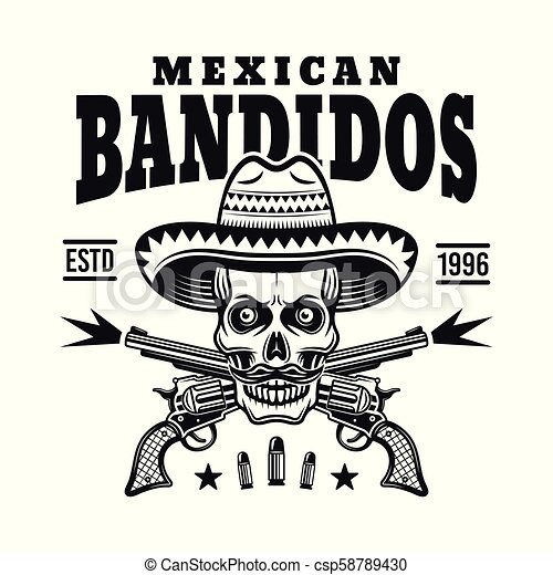 Mexican bandit skull in sombrero vector emblem - csp58789430