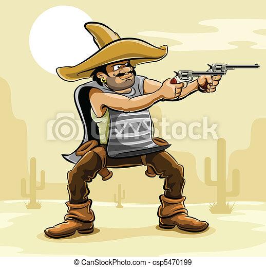 mexican bandit with gun in prairie - csp5470199