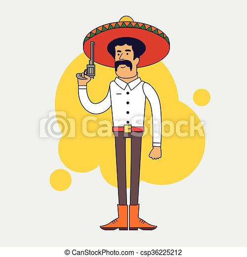 Mexican bandit with sombrero, mustache and big pistol. - csp36225212