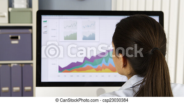 Mexican businesswoman analyzing charts on computer - csp23030384